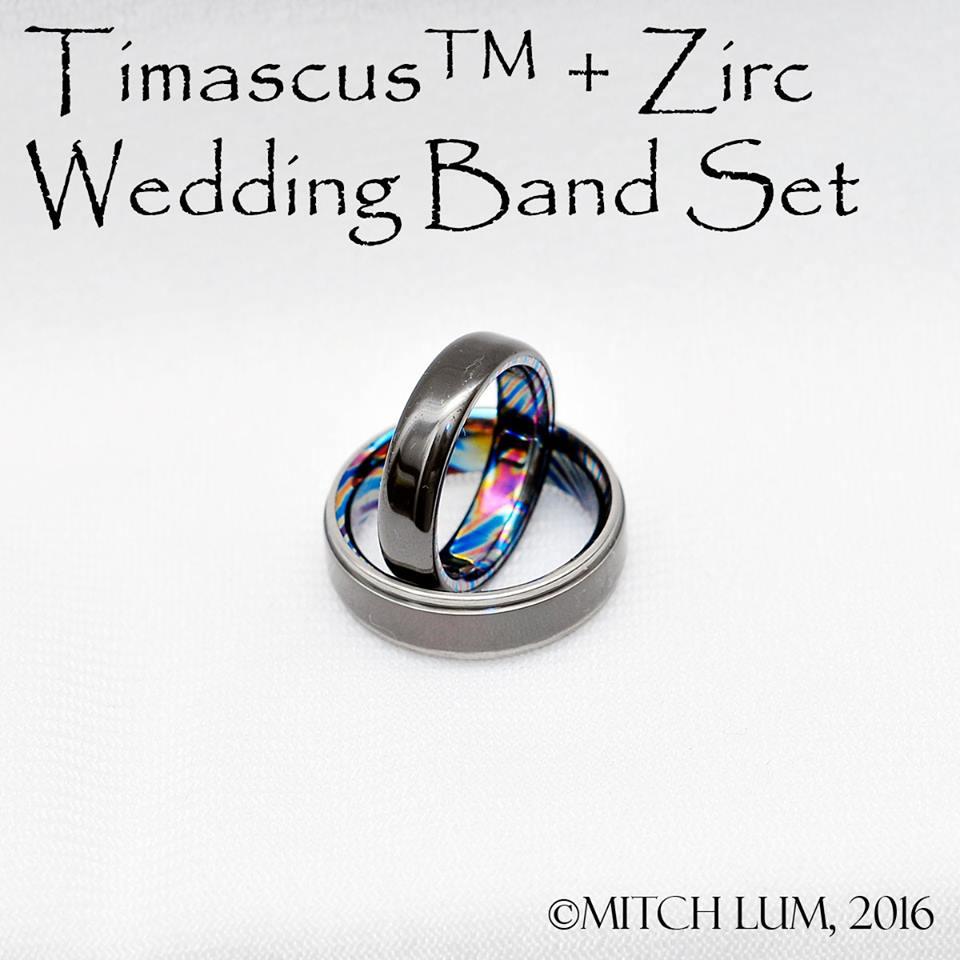 Timascus Zirc Wedding Band Set Pocket Top Info