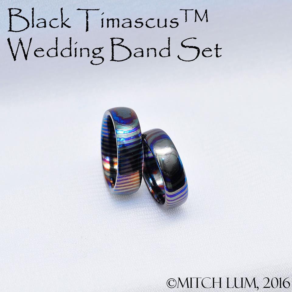 Black Timascus wedding band set Pocket Top Info